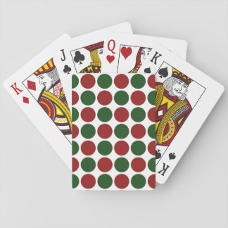 Red and Green Polka Dots on White Playing Cards
