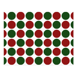 Red and Green Polka Dots on White Postcard