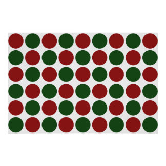 Red and Green Polka Dots on White Poster