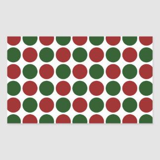 Red and Green Polka Dots on White Rectangular Sticker