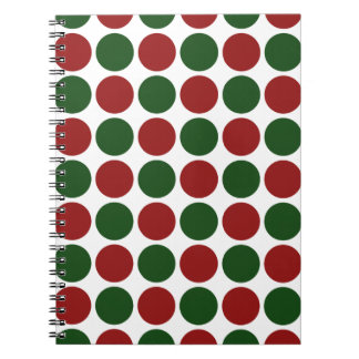 Red and Green Polka Dots on White Spiral Notebook