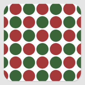 Red and Green Polka Dots on White Square Sticker