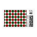 Red and Green Polka Dots on White Stamp