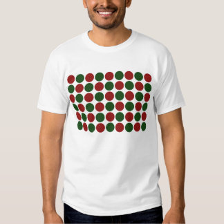 Red and Green Polka Dots on White T-shirt