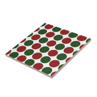 Red and Green Polka Dots on White Tile