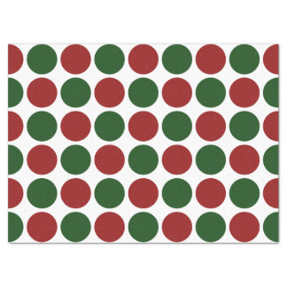 Red and Green Polka Dots on White Tissue Paper