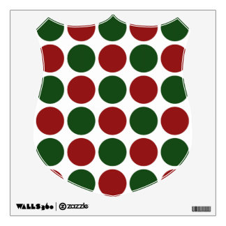 Red and Green Polka Dots on White Wall Sticker