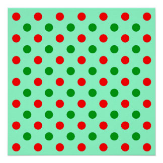 Red and Green Polka Dots Perfect Poster