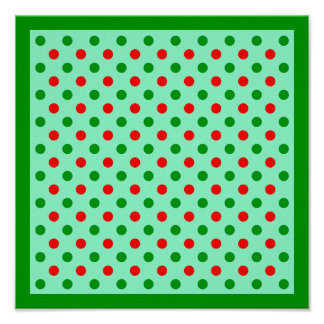 Red and Green Polka Dots Poster