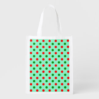Red and Green Polka Dots Reusable Grocery Bags