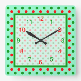 Red and Green Polka Dots Square Wall Clock