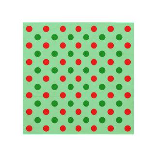 Red and Green Polka Dots Wood Wall Art
