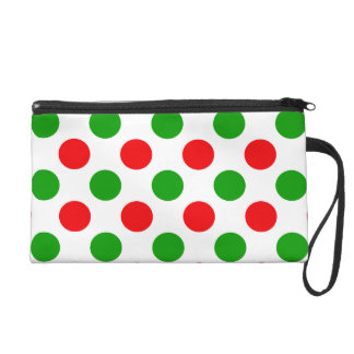 Red and Green Polka Dots Wristlet Purse