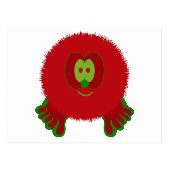 Red and Green Pom Pom Pal Postcard