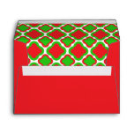 Red and Green Quatrefoil Pattern Christmas Envelope