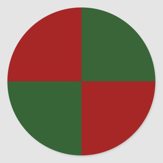 Red and Green Rectangles Classic Round Sticker