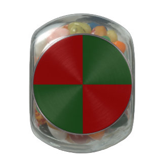 Red and Green Rectangles Glass Candy Jar