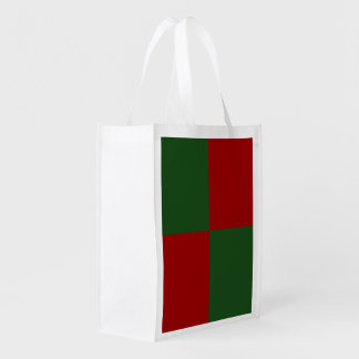 Red and Green Rectangles Grocery Bag