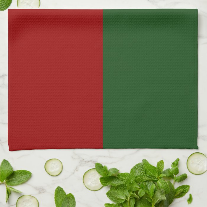 Red and Green Rectangles Hand Towel