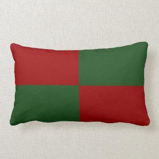 Red and Green Rectangles Lumbar Pillow