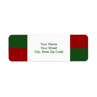 Red and Green Rectangles return address label