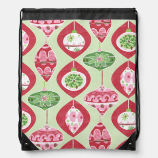 Red and Green Retro Christmas Ornaments Pattern Drawstring Backpack