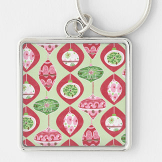 Red and Green Retro Christmas Ornaments Pattern Keychain