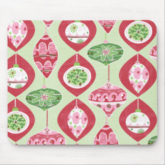 Red and Green Retro Christmas Ornaments Pattern Mouse Pad