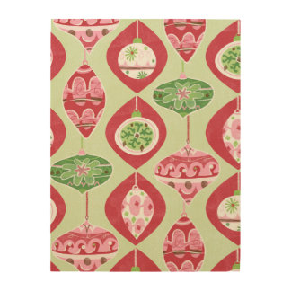 Red and Green Retro Christmas Ornaments Pattern Wood Wall Decor