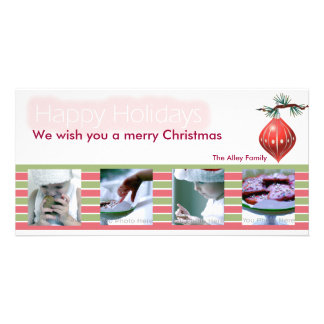 Red and Green ribbons christmas photocard Card