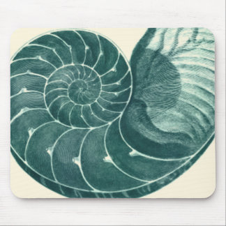 Red and Green Seashell Art Mouse Pad