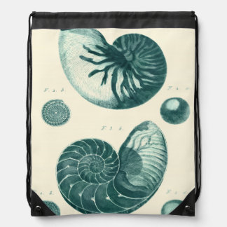 Red and Green Seashell Art Drawstring Bags