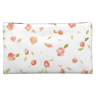 Red and Green Shabby Chic Rose Background Cosmetics Bags