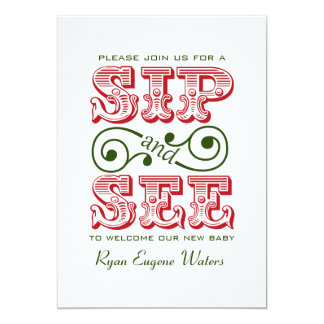 Red And Green Sip And See Visit Our New Baby Card