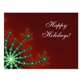 Red and Green Snowflake Business Holiday Postcard
