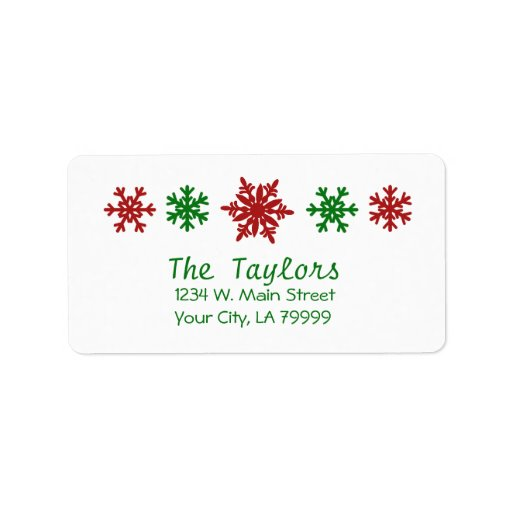 Red and Green Snowflake Holiday Address Labels
