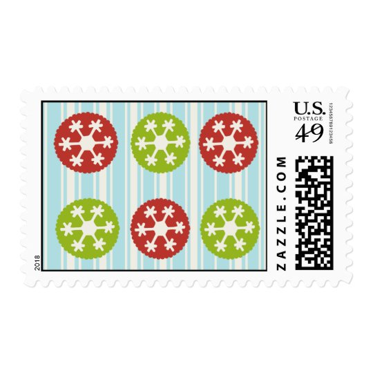 Red and Green Snowflake Stamp