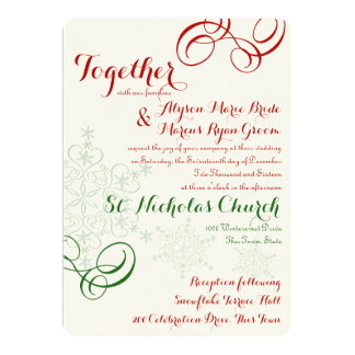 Red and Green Snowflake Text Wedding Card