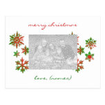 Red and Green Snowflakes Photo Holiday Card Postcards
