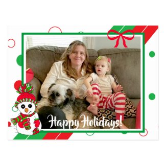 Red and Green Snowman Family Photo Christmas Postcard