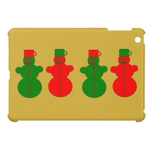 Red and green snowmen cover for the iPad mini