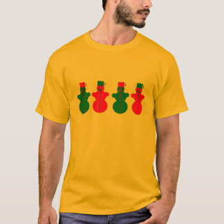 Red and green snowmen t-shirt