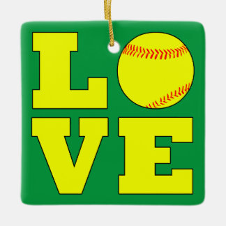 Red and Green Softball Love Reversible Christmas Ceramic Ornament