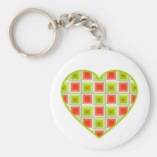 Red and Green Squares Heart Keychain