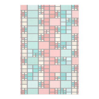 Red and green squares pattern stationery