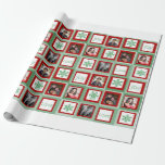 Red and Green Squares Personalized Photo Gift Wrap