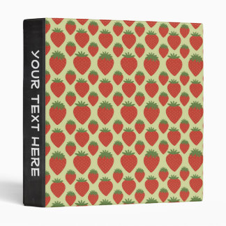 Red and Green Strawberries Pattern Vinyl Binder