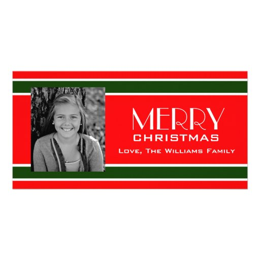 Red and Green Stripe Christmas Colors Photo Card