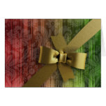 Red and Green Stripe Gold Bow Greeting Card