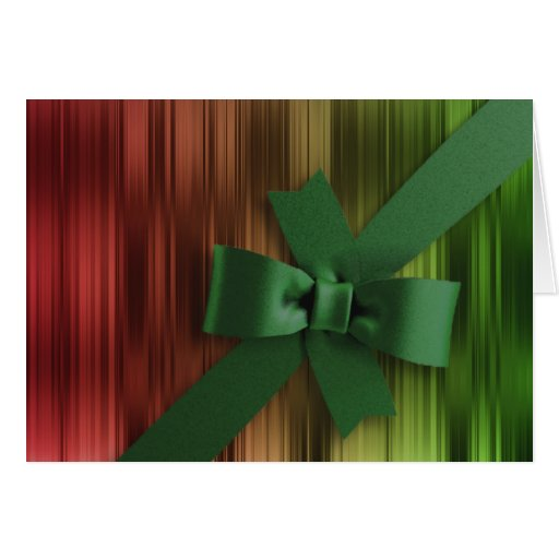 Red and Green Stripe Green Bow Greeting Card